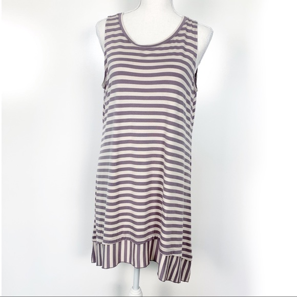 LOGO by Lori Goldstein Tops - LOGO | Purple Cream Stripe Sleeveless Tunic Medium